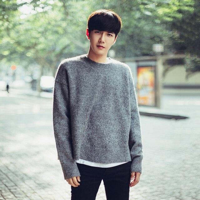 Autumn Men\u0027s Korean Long Sleeve Knit Sweater Sweater Men\u0027s round neck tide  Student couple sweater Men\u0027s