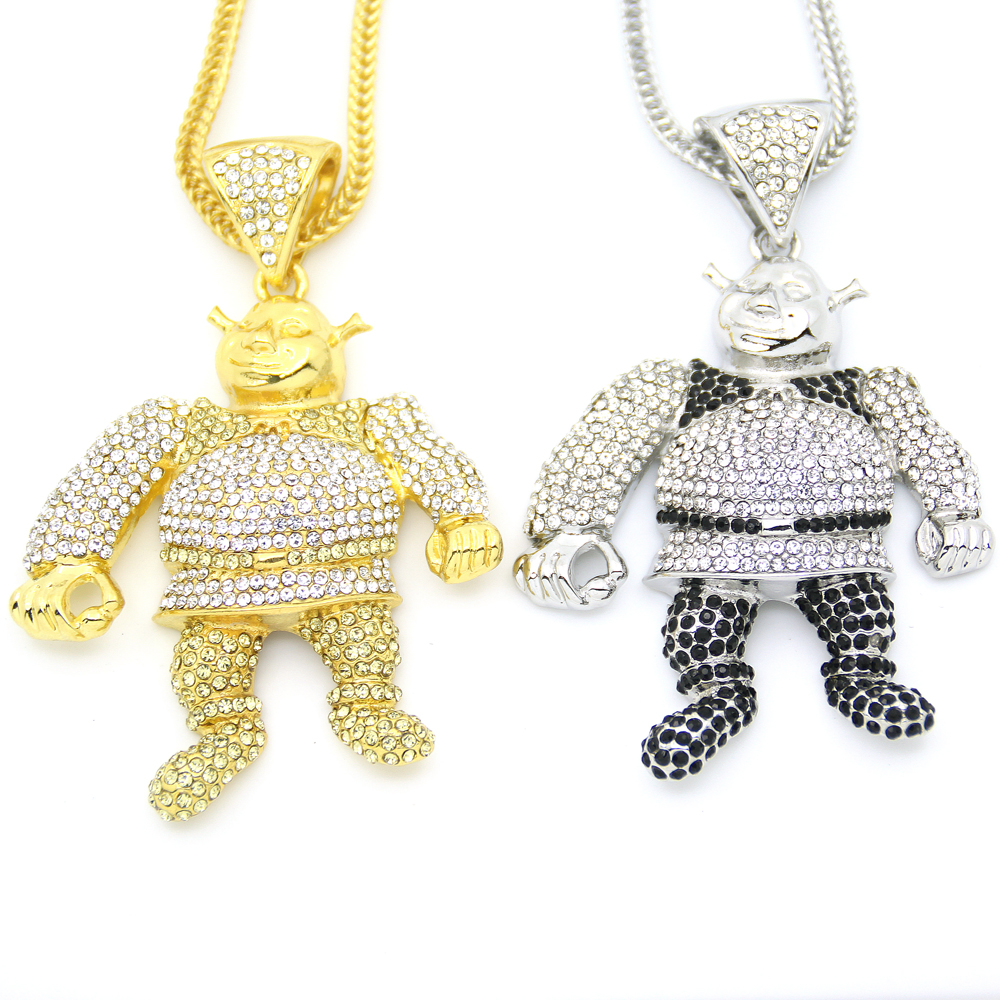 2 Colors Bling Bling Iced Out Large Size Cartoon Movie pendant Hip hop Necklace Jewelry 36inch Franco chain  N638 bracelet