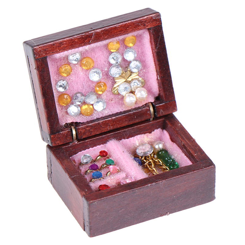 1PCS Wooden Vintage Jewelry Box 1/12 Scale Dollhouse Miniature House Decor Furniture Accessories Toy