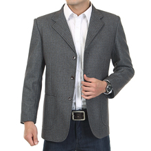 WAEOLSA Mature Men Casual Blazers Gray Small Plaid Suit Jackets Middle Aged Man Little Check Pattern Blazer Father Garment 2019