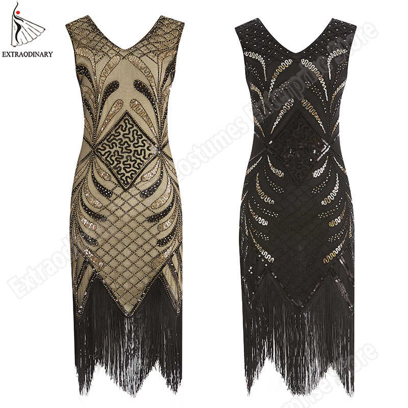 Women Fringe Vintage Flapper Dresses 1920s Style Great Gatsby Dress Art Deco Sequined Tassel Embellished Party Sleeves Costumes