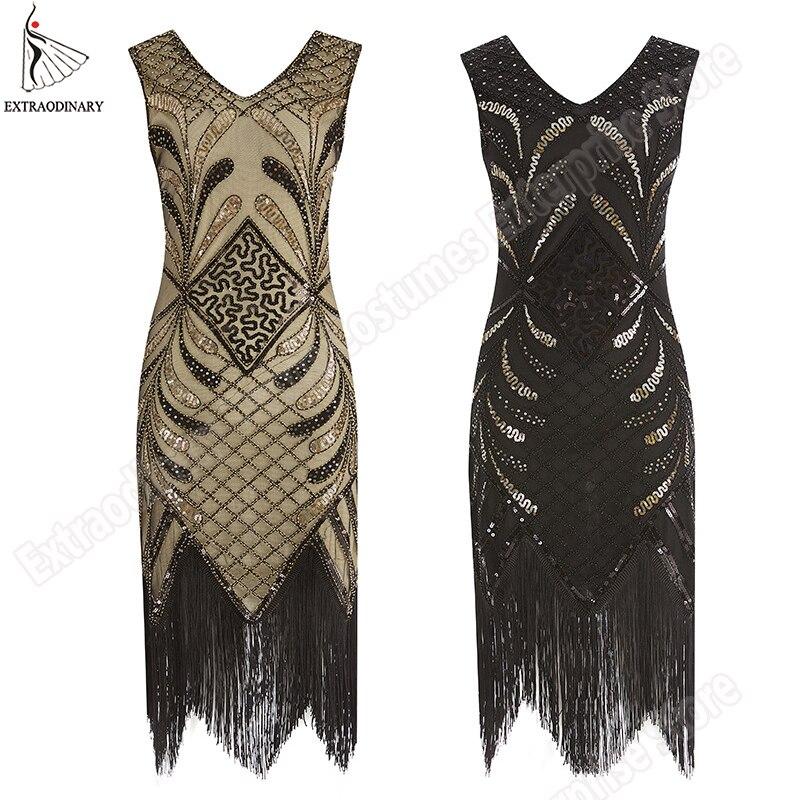 >Women Fringe Vintage Flapper Dresses 1920s <font><b>Style</b></font> Great Gatsby Dress <font><b>Art</b></font> <font><b>Deco</b></font> Sequined Tassel Embellished Party Sleeves Costumes