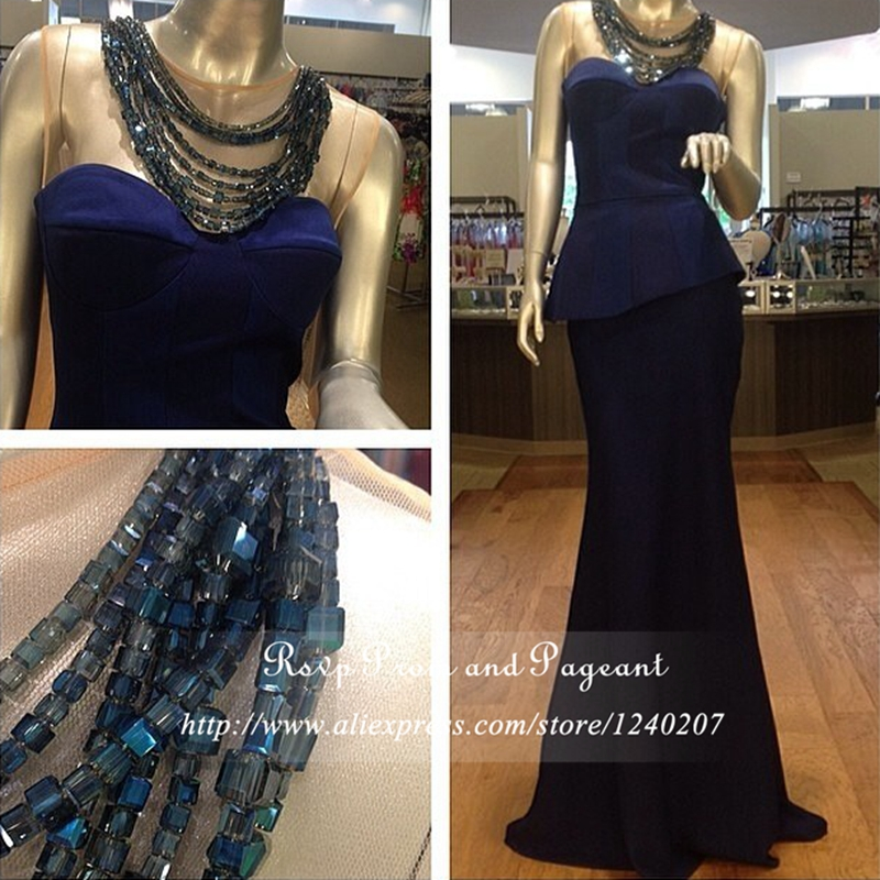 Real Photos Elegant Navy Blue Prom Dresses Boat Neck Sheer Lace Stretch Satin Long Mermaid Prom