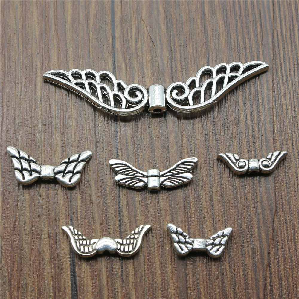 20pcs Wing Beads Charms Antique Silver Small Hole Beads Wing Charms Jewelry Wing Beads Charms