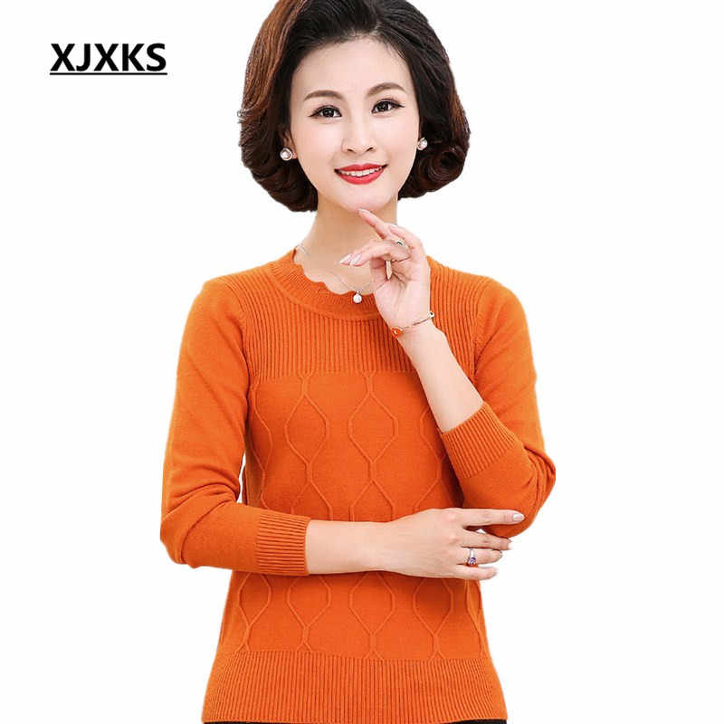 89f883cb78d8 XJXKS Autumn 2018 new arrivals women pullovers and sweaters high elasticity  knitted outwear women s jumpers