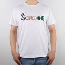 SCIENCE spelled out with DNA, a magnet, a test tube, a shell T-shirt