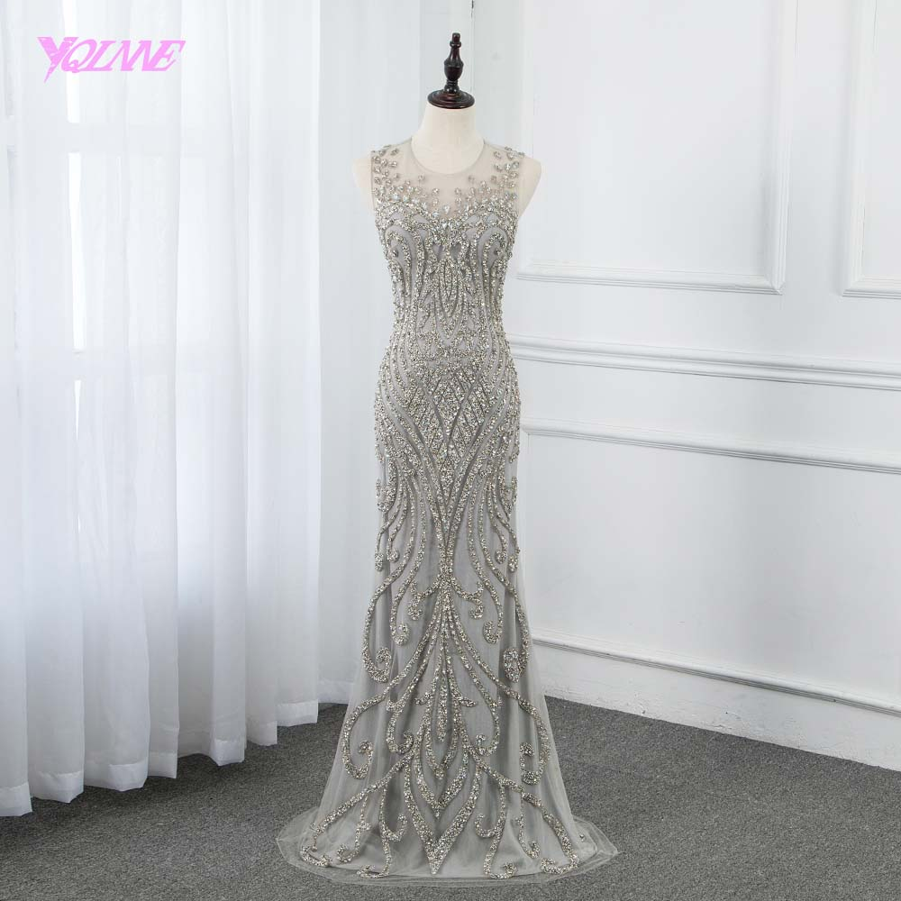 2019 Sliver Rhinestones Long   Evening     Dress   Mermaid Beading Pageant   Dresses   Formal Gown YQLNNE