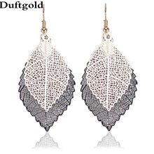 New Arrival Fashion Hollow Out Leaf Drop Earrings Rose With Hematite Mix color Accessroise Gifs Party Earrings Jewelry Duftgold(China)