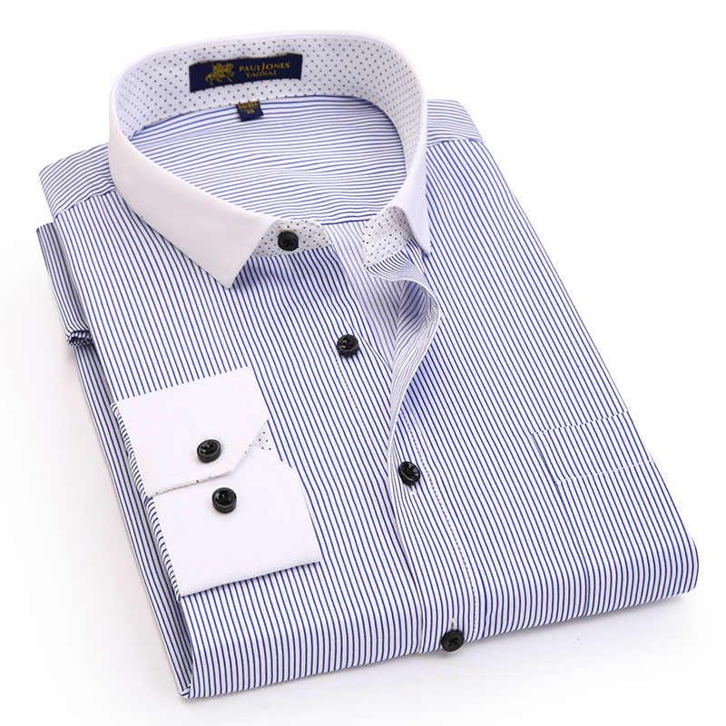 メンズロングスリーブコントラスト襟シャツ非鉄ビジネスフォーマル着用ブランド男性ドレスシャツ高品質の男性カジュアルシャツ