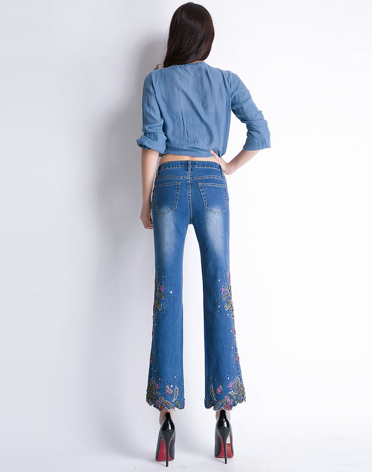 Jeans women elastant perles embroidery high waist denim pants bell bottoms flared gloria jeans luxury female trousers plus size 17