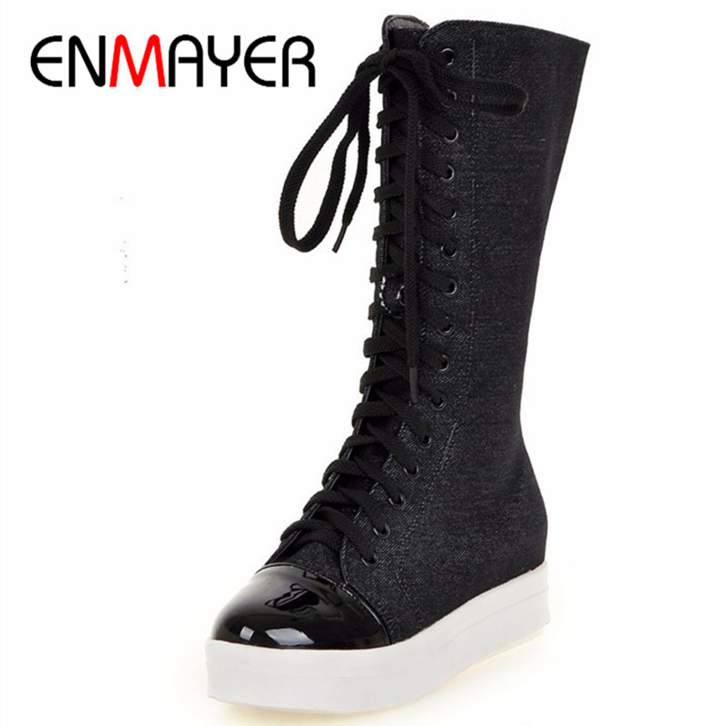 ENMAYER New Med Heels Demin Mid-calf Boots Shoes Woman Winter Warm Fashion Boots Big Size 34-43Lace-Up Black BLue Platform Shoes new fashion winter boots wool flock shoes women boots platform thick high heels mid calf boots two swear big size 34 43 0715