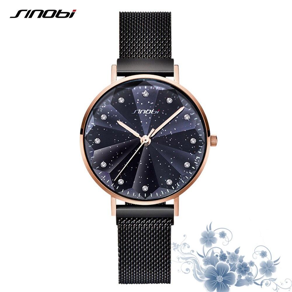 SINOBI New Fashion Starry Sky Ladies Watches Luxury Gold Women's Magnet Buckle Quartz Wrist Watches Geneva Relogio 2019 Gifts