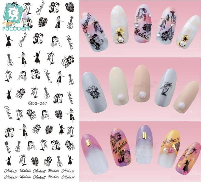 Rocooart DS267 Water Transfer Nails Art Sticker Black Drawing Princess Dancing Nail Wraps Watermark Fingernails