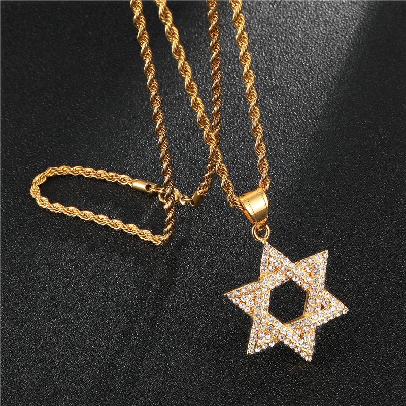 1408fbbfea2b3 US $9.59 30% OFF|D&Z Hip Hop Vintage Crystal Hexagram Star Of David  Necklaces Pendants Twisted Chain Necklace Fashion Jewelry for men-in  Pendant ...
