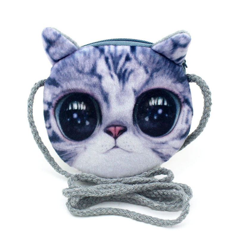 Kawaii 3D Cats Dogs Animal Prints Kids Coin Purse Girls Plush Shoulder Wallet Change Pouch Boys Mini Messenger Pouch Bag