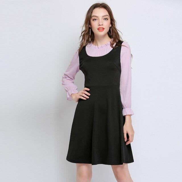 Autumn Dresses Women 2018 Plus Size Elegant Work Casual Party Long Sleeve Patchwork Dress Vestidos Sexy Cute Dresses Femme 5xl