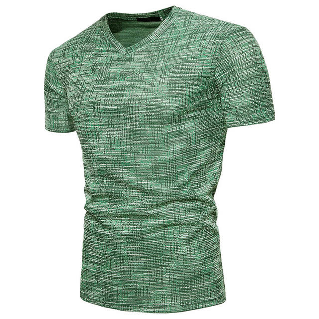 T shirt Men Summer Casual Soid Hole V Neck Pullover T-shirt Top Blouse For Male tshirt streetwear c0325