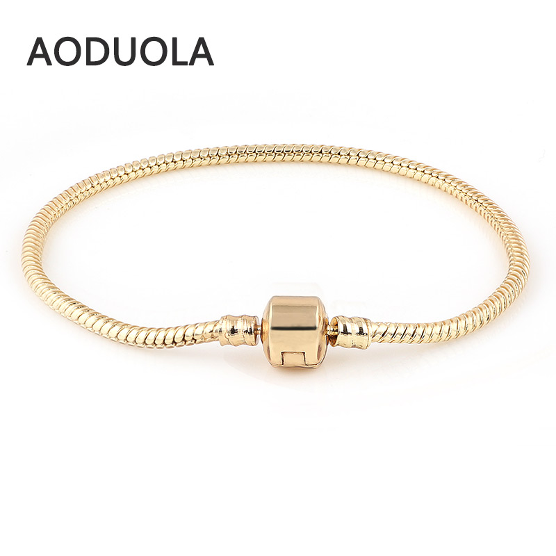 Love Chamilia Bracelets 18K Gold Snake Chain Chamilia Fit For Pandora Bracelet European Murano Beads DIY Troll Czech Glass Bead пандора браслет с шармами