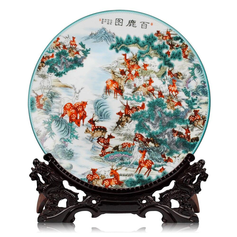 Jingdezhen Ceramic Cercei Placă de platou cerb albastru și alb metopă placă decorativă din porțelan pentru hotel camera de zi