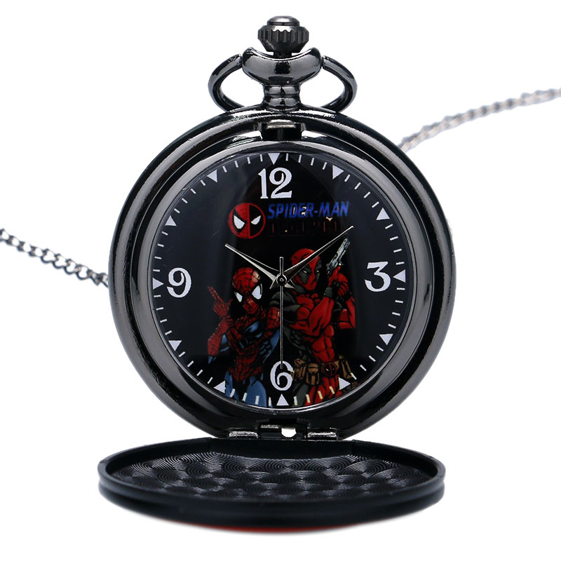 Fashion Cool SPIDER-MEN Quartz Pocket Watch Black&Red DEAD POOL Cosplay Necklace Fob Clock Pendant Men Women Watches Gifts