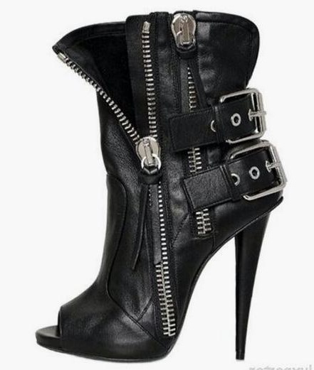 Punk Style Double Zipper Ankle Boots Woman Peep Toe Cone Heel Gladiator Sandals Boots Cut-out Buckle Short Bootie Black Leather