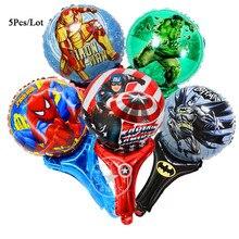 5Pcs/Lot ballons baloon helium foil balloon stick avengers party supplies birthday superhero