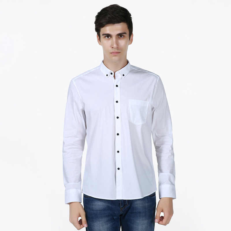 White Shirt Men 2017 Brand New Long Sleeve Mens Dress Shirts Casual Slim Fit 100% Cotton Chemise Homme camisas masculina