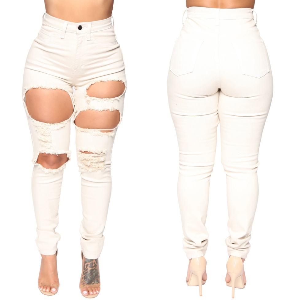 Women's Fashion White New High Waist Hole Skinny Denim Ripped Jeans for Women White Pencil Trousers Skinny Jeans for Woman
