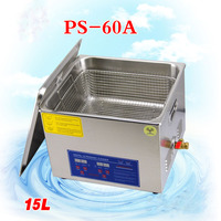 1P Cglobe 110V/220V Bath Cleaner PS 60A 40KHz Ultrasonic Cleaner 15L Stainless Steel Washing Machine