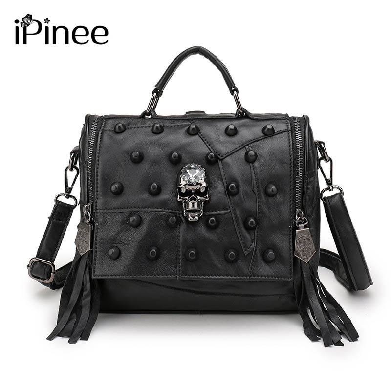 iPinee Female Genuine Leather Women Bag Patchwork Rivets Skulls Decoration Multi-functional Backpack