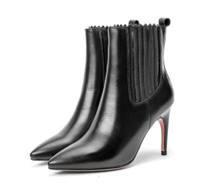 Big size!Red pointed toe high heel ankle boots for women Fashion ladies'black multipurpose super high thin heel short boots