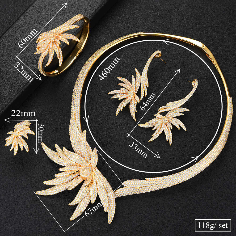 GODKI Luxury Palm Tree Leaf ไนจีเรีย Choker ชุดเครื่องประดับสำหรับงานแต่งงาน Cubic Zircon CZ ดูไบ Gold เครื่องประดับเจ้าสาวชุด 2019