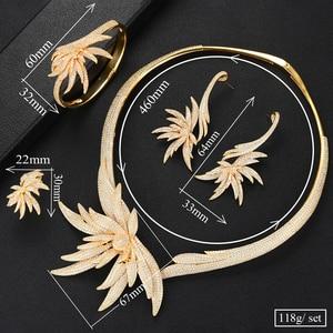 Image 5 - GODKI Luxury Palm Tree Leaf Nigerian Choker Jewelry sets For Women Wedding Cubic Zircon CZ Dubai Gold Bridal Jewelry Set 2019