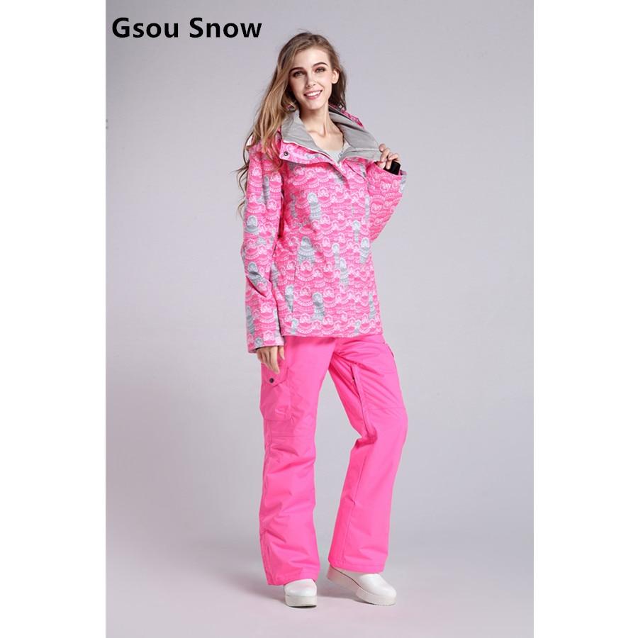 Prix pour Gsou Snow Femmes Ski Costumes D'hiver Snowboard Vestes et Pantalons Coupe-Vent Imperméable À L'eau Coloré Femelle Sports de Plein Air Ski Ensembles
