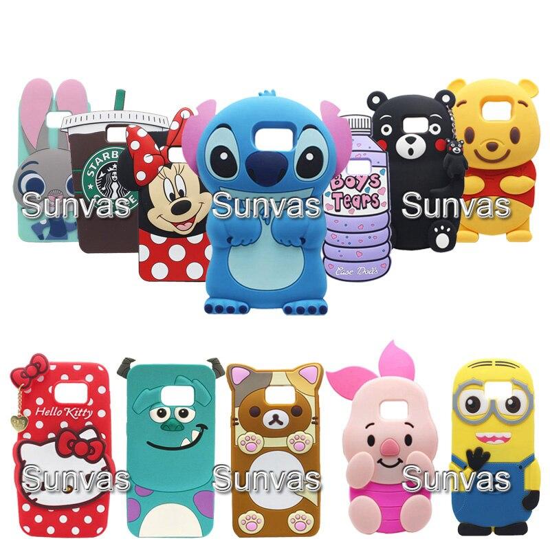 3D Animal Minnie Stitch Teddy Bear Kitty Winnie Judy Soft Silicone Phone Back Case Cover Skin For Samsung Galaxy Note 3 4 5