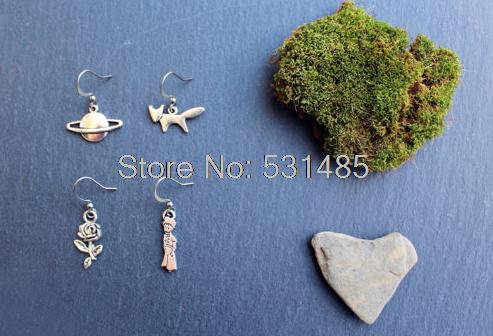 20pairs Mismatched earrings  asymmetric  The Little Prince  Flower, planet, fox and The Little Prince