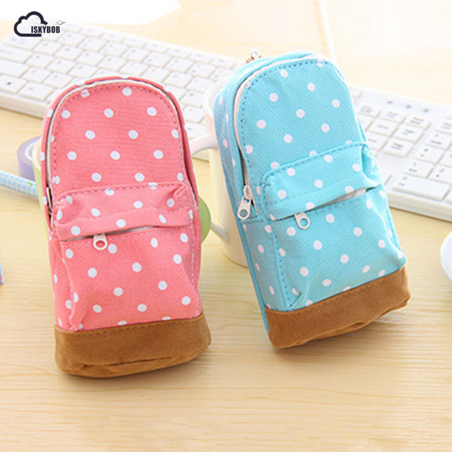 ISKYBOB Lovely Students Children Mini Schoolbags Canvas Case Pen Coin Bag New Coin Purses & Holders