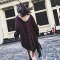[XITAO] autumn new arrival women's long loose form solid color hollow out back with tassel V-neck pullovers sweater QRB-025