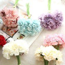 Bouquet Artificial Carnation Silk Flowers Fake Leaf Home and Wedding Party Decoration 6 flowers head