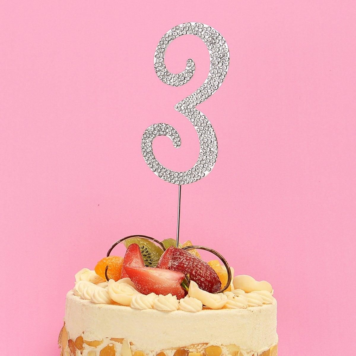 Metal Diamante Rhinestone Cake Topper Numbers 0 9 Cake Picks ...