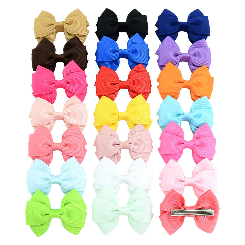 1piece 2.6 Inch High quality Lovely Girls Bow Tie Hair Clip Solid Grosgrain Ribbon Bow-knot Hairpins Hair Accessories 762