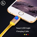 HOCO Brand 1.2M 2M Color 8Pin Data Charger Cable For iPhone 7 6s 6 Plus 5s for iPad Intelligent LED On /Off Charging Cable