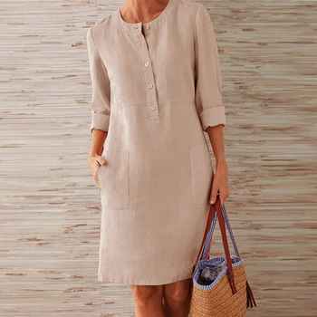 VIEUNSTA Autumn Cotton Linen Dress 2019 Fashion Button O-Neck Knee Party Dress Women Long Sleeve Pocket Solid Dresses Plus Size 2