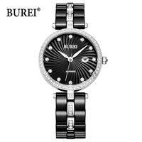 Буреи женские часы Для женщин цвета: золотистый, серебристый Водонепроницаемый модные сапфировое стекло Керамика кварцевые наручные часы