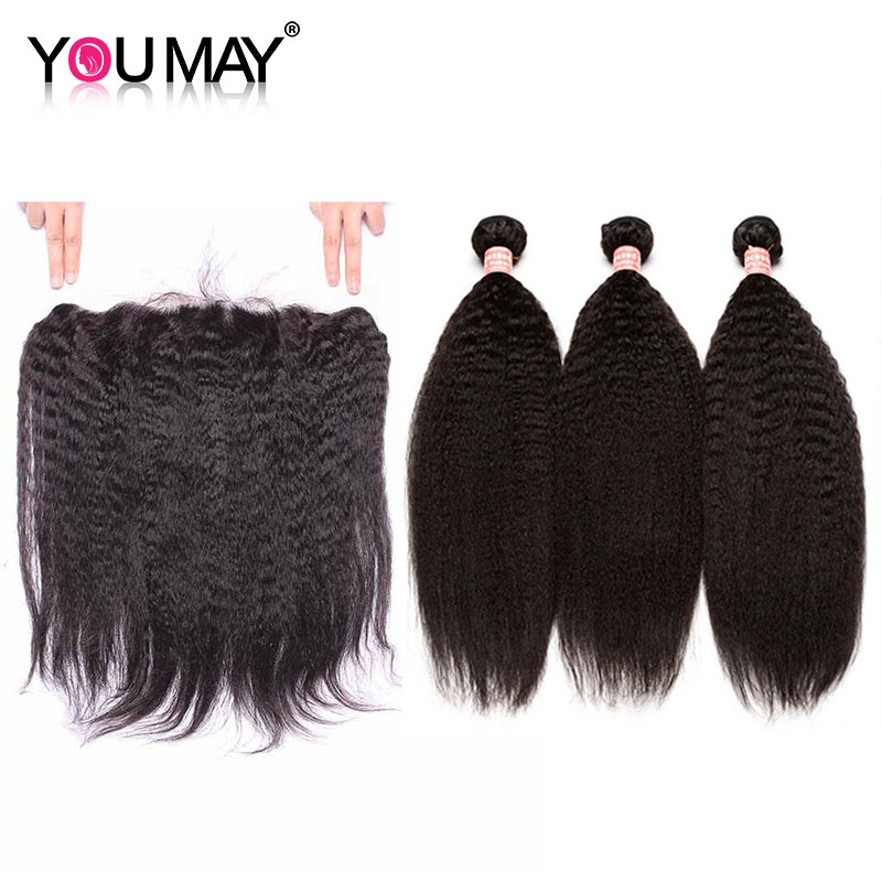 Kinky Straight Lace Frontal Closure With 3 Bundles Brazilian Virgin Human Hair Bundles With Frontal Closure Pre Plucked You May