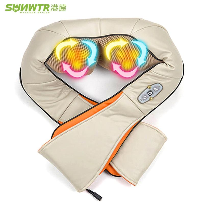 SUNWTR Shiatsu U Shape  Roller Heat Device Car/Home Neck Massager Electrical  Shoulder Leg Body Massage Infrared 4D Kneading 4d massager
