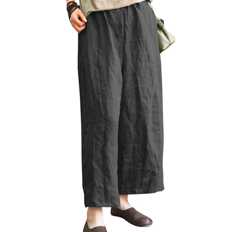 Women Vintage Cotton Linen Solid high Waist   Wide     Leg     Pants   Ladies Casual Loose Elastic Waist Ankle-Length Long Trousers