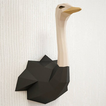 30min Complete DIY 3D Ostrich Paper Sculpture Papercraft Puzzle Toy Educational Folding Model Christmas Gift Science