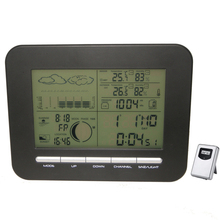 Цифровой стол с двойным будильником, барометр, метеостанция с комнатным термометром, гигрометром, беспроводной, для наружной температуры и влажности
