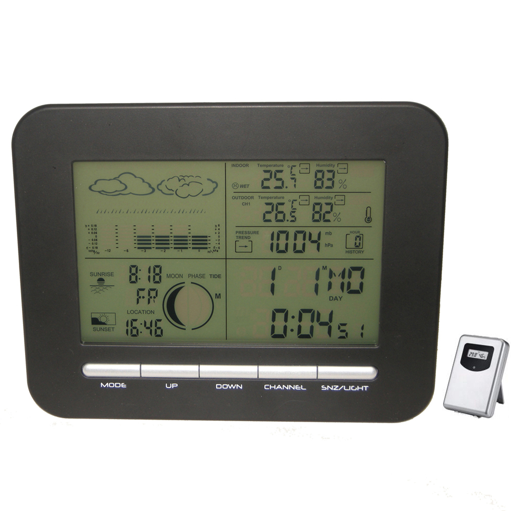 Digital Table Dual Alarm Clock Barometer Weather Station w/ Indoor Thermometer Hygrometer Wireless Outdoor Temperature Humidity цена и фото